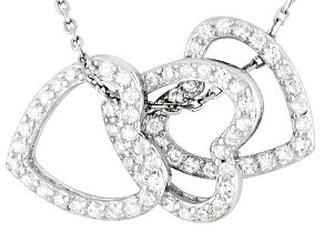 White Cubic Zirconia Sterling Silver Pendants With Chain 2.40ctw