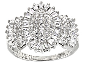 Cubic Zirconia Platinum Over Sterling Silver Ring 2.12ctw