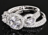 Cubic Zirconia Rhodium Over Silver Ring With Band 6.71ctw
