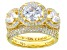 Cubic Zirconia 18K Yellow Gold Over Silver Ring With Band 6.71ctw