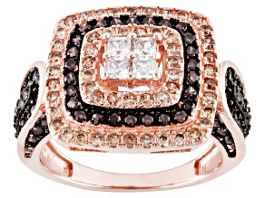 Brown And White Cubic Zirconia 18k Rose Gold Over Silver Ring 2.00ctw