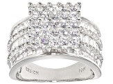 Cubic Zirconia Rhodium Over Sterling Silver Ring 5.89ctw