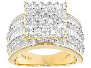 Cubic Zirconia Eterno 18k Yellow Gold Over Silver Ring 5.89ctw