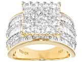 Cubic Zirconia 18k Yellow Gold Over Sterling Silver Ring 5.89ctw