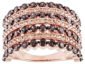 Brown Cubic Zirconia 18k Rose Gold Over Sterling Silver Ring 2.40ctw