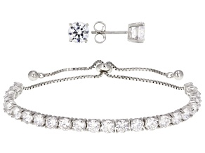 Cubic Zirconia Sterling Silver Bracelet And Earrings Set 11.89ctw