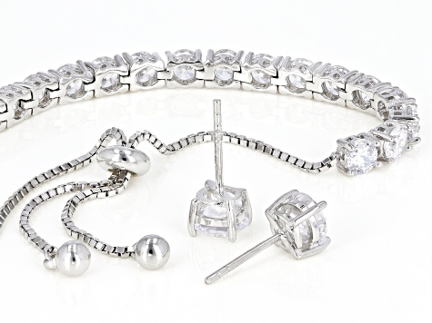 Cubic Zirconia Rhodium Over Sterling Silver Bracelet And Earrings Set 11.89ctw