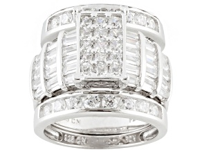 Cubic Zirconia Rhodium Over Sterling Silver Ring With Bands 8.42ctw