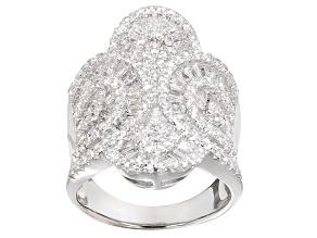 Cubic Zirconia Rhodium Over Sterling Silver Ring 4.60ctw