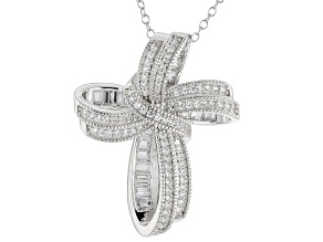 White Cubic Zirconia Sterling Silver Cross Pendant With Chain 1.84ctw