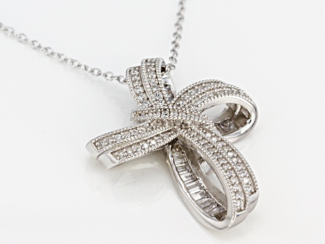 White Cubic Zirconia Rhodium Over Sterling Silver Cross Pendant With Chain 1.84ctw