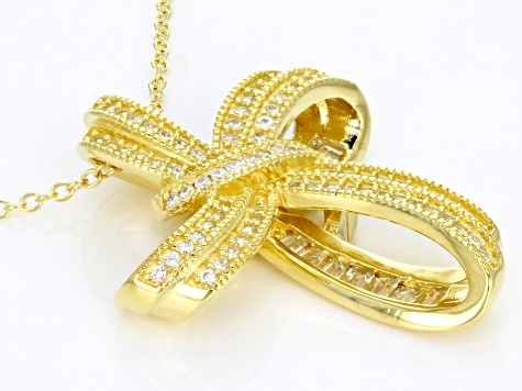 White Cubic Zirconia 18k Yellow Gold Over Sterling Cross Pendant With Chain 1.84ctw