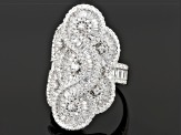 Cubic Zirconia Rhodium Over Sterling Silver Ring 3.17ctw