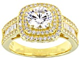 Cubic Zirconia 18K Yellow Gold Over Sterling Silver Ring 3.77ctw