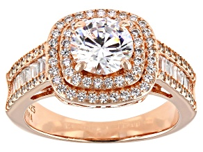Cubic Zirconia 18K Rose Gold Over Sterling Silver Ring 3.77ctw