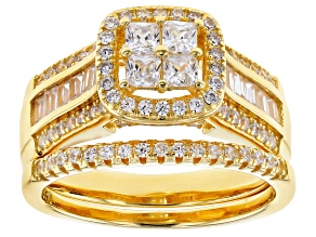 Cubic Zirconia 18k Yellow Gold Over Silver Ring 1.95ctw