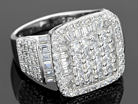 Cubic Zirconia Rhodium Over Sterling Silver Ring 7.22ctw