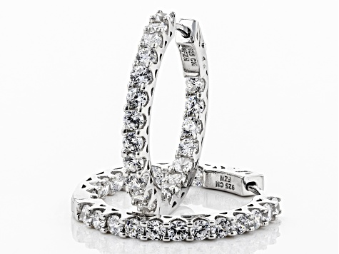 Cubic Zirconia Rhodium Over Sterling Silver Hoop Earrings 4.00ctw