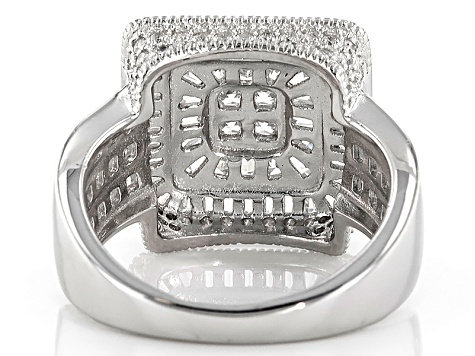 Cubic Zirconia Sterling Silver Ring 4.21ctw