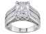Cubic Zirconia Rhodium Over Sterling Silver Ring 6.02ctw