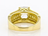 Cubic Zirconia 18K Yellow Gold Over Sterling Silver Ring 6.02ctw