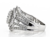 Cubic Zirconia Rhodium Over Sterling Silver Ring 1.71ctw