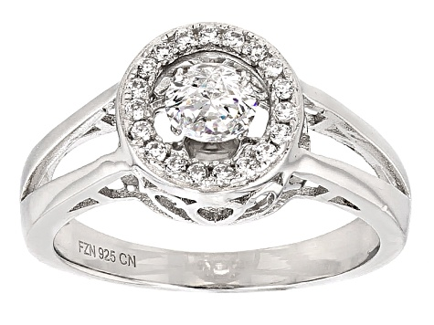 Cubic Zirconia Rhodium Over Sterling Silver Dancing Bella Ring 1.04ctw