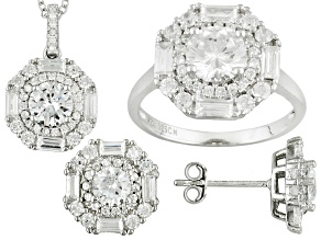Cubic Zirconia Sterling Silver Earrings, Pendant, And Ring 12.71ctw