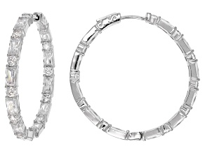 Cubic Zirconia Rhodium Over Sterling Silver Earrings 14.60ctw