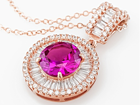 Pink And White Cubic Zirconia 18k Rose Gold Over Sterling Silver Pendant 7.11ctw