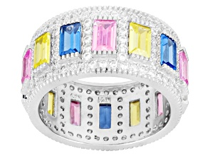 Blue Spinel & Blue, Pink, Yellow, & White Cubic Zirconia Sterling Silver Ring 4.32ctw
