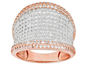 Cubic Zirconia 18k Rose Gold Over Sterling Silver Ring 2.51ctw