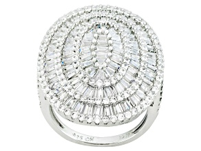 Cubic Zirconia Rhodium Over Sterling Silver Ring 5.03ctw