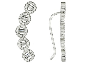 Cubic Zirconia Rhodium Over Sterling Silver Earrings 2.69ctw