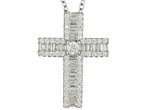 Cubic Zirconia Rhodium Over Sterling Silver Pendant With Chain 1.21ctw