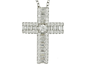 Cubic Zirconia Rhodium Over Sterling Silver Cross Pendant With Chain 1.21ctw