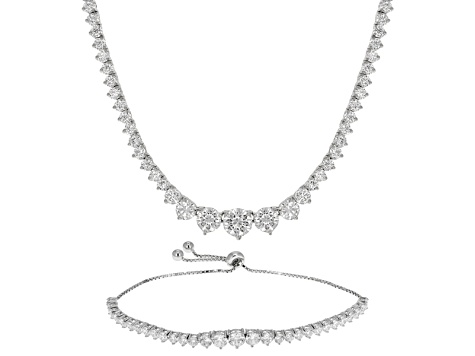 Cubic Zirconia Sterling Silver Necklace And Bracelet Set 25 98ctw