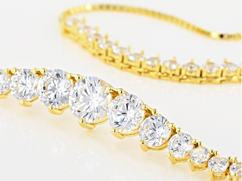 White Cubic Zirconia 18k Yg Over Sterling Silver Necklace And Bracelet Set 25.98ctw