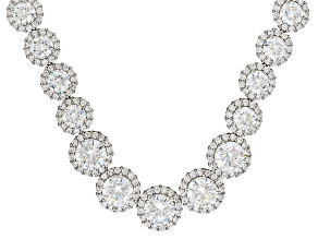 Cubic Zirconia Rhodium Over Sterling Silver Necklace 55.50ctw