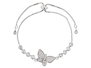 Cubic Zirconia Rhodium Over Silver Butterfly Adjustable Bracelet 3.06ctw