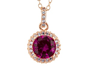 Red And White Cubic Zirconia 18k Rose Gold Over Sterling Silver Pendant With Chain 3.39ctw