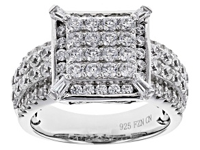 Cubic Zirconia Rhodium Over Sterling Silver Ring 3.32ctw