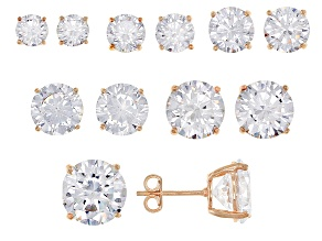 Cubic Zirconia 14K Rose Gold Over Sterling Silver Stud Earrings Set Of 6 38.20ctw