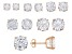 Cubic Zirconia 18K Rose Gold Over Sterling Silver Stud Earrings Set Of 6 38.20ctw