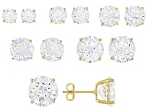 White Cubic Zirconia 14k Yellow Gold Over Sterling Silver Earrings 38.20ctw