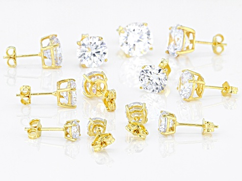 White Cubic Zirconia 18k Yellow Gold Over Sterling Silver Earrings 38.20ctw
