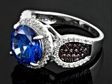 Blue Brown And White Cubic Zirconia Rhodium Over Sterling Silver Ring 7.42ctw