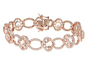 Morganite Simulant And White Cubic Zirconia 18k Rose Gold Over Sterling Silver Bracelet 9.74ctw