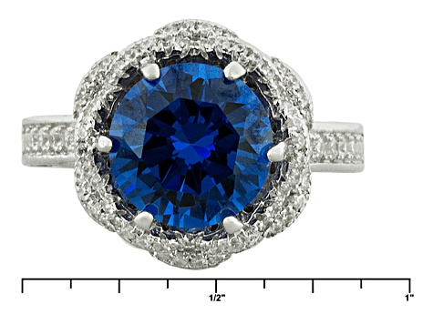 Blue And White Cubic Zirconia Rhodium Over Sterling Silver Ring 6.61ctw