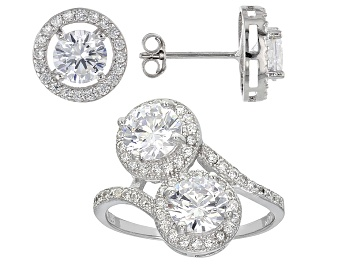 Picture of Cubic Zirconia Rhodium Over Sterling Silver Ring And Earrings Set 3.26ctw